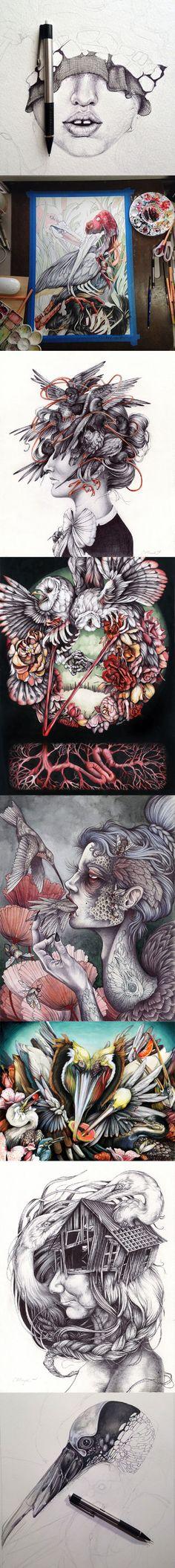 Les dessins et illustrations de Christina Mrozik avec un univers particulier excellent.