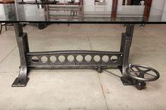 Vintage Industrial, Original Adjustable Dining Table/Desk Base image 8