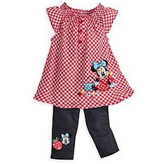 Minnie Mouse Dress and Pants Set for Baby | Disney Store Minnie relaxes with some friendly fruit and flowers on the gingham dress part of this two-piece set for baby. The coordinaiting stretch denim pants picture the ''Always sweet'' Minnie on the right leg to add a taste of charm.