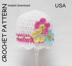 Baby girl crochet hat pattern in cotton with flowers and butterfly.    THE FLUTTERBY BABY HAT PATTERN (not the actual item)    This pretty