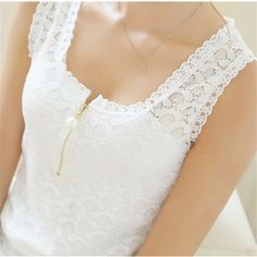2017 Fashion Summer Style Ladies Tops With Lace Patchwork Fitness Women White Sexy Hollow Out Lace Chiffon Blouse Shirt 20 Size S Color Black White Lace Blouse, Black And White Blouse, Black White, White Blouses, Lace Camisole, Color Black, Women's Summer Fashion, Fashion 2016, Style Fashion
