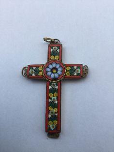 Vintage Italian Mosaic Cross Pendant Easter