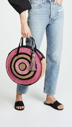 Rebecca Minkoff Straw Circle Tote | 15% off 1st app order use code: 15FORYOU