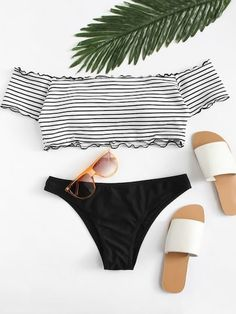 Shop Lettuce Edge Mix and Match Bardot Bikini Set online. SheIn offers Lettuce Edge Mix and Match Bardot Bikini Set & more to fit your fashionable needs. Cute Swimsuits, Two Piece Swimsuits, Women Swimsuits, Striped Bikini, The Bikini, Bikini Tops, Bikini Swimwear, Women's Dresses, Bardot Bikini