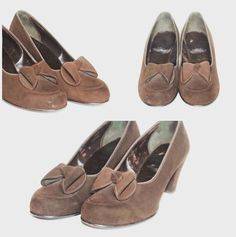1940's brown suede shoes