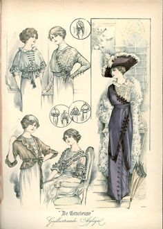 Day and walking dresses (including two variations on one top) and a hat, 1912 the Netherlands, De Gracieuse