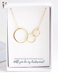 Circles Bridesmaid Proposal Necklace - Wedding nacklaces (*Amazon Partner-Link)