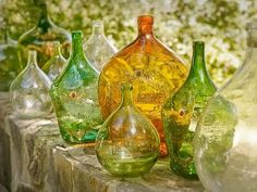 Vintage french wine bottles - love!