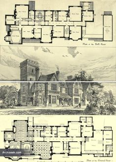 """Yattendon Court - Architect: Alfred Waterhouse """"We give this week illustrations of a house, at present in course of construction by Mr. Victorian House Plans, Vintage House Plans, Victorian Homes, Castle Floor Plan, House Floor Plans, Mansion Plans, Gothic Mansion, Gothic Castle, Architectural Floor Plans"""