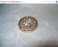 SALE Goldtone rhinestone flower brooch pin estate by vintagebyrudi
