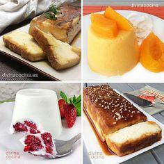 En esta entrada proponemos varias recetas de flanes faciles sin huevo ni baño María, con frutas, con queso, con ingredientes sencillos y naturales.