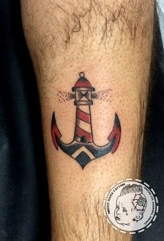 Lighthouse anchor Old School by Tom Raven at Sorry Mama Tattoo