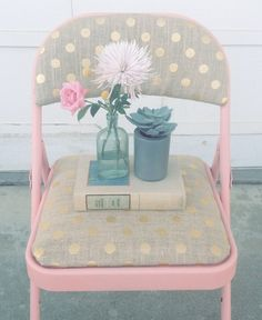 Folding Chair Makeover - SO CUTE!!