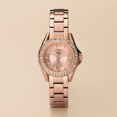 FOSSIL® Watch Styles Rose Watches:Women Riley Mini Plated Stainless Steel Watch - Rose ES2889