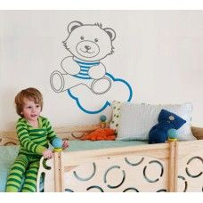 Teddy bear wall decal No12 In the clouds  | Starting from $10 |  Customize:  •Colours(36) •Size(7) •Orientation •Finish (mat or glossy)  | PayPal payment, worldwide delivery | For order and details:  http://fuzzypi.com/index.php?route=product/product&path=63_113&product_id=305