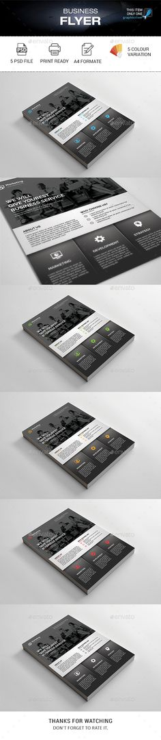 Business Flyer by madmindgraphics Features :Psd Files 5 Color variationEasy Customizable and Editable Print Size A4 Format with Bleed 3mm 300 Dpi Print Ready Format