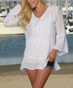 Another great find on #zulily! White Embroidered Lace Bell-Sleeve Tunic #zulilyfinds