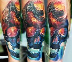 Realistic Skull Tattoo by Levgen Eugene Knysh   Tattoo No. 13517