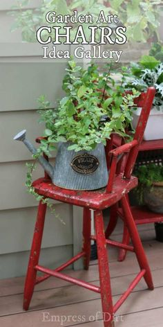 Gallery of garden art chair ideas. Give old furniture a delightful second life.