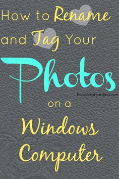 A Tutorial for Tagging and Renaming Pictures on a Windows Computer If you want to easily find your pictures by searching, you should rename them and tag the people in the pictures. Here's how you can do that on a Windows computer. Digital Photography, Photography Tips, Computer Photography, Inspiring Photography, Horse Photography, Photography Magazine, Product Photography, Photography Tutorials, Creative Photography