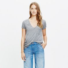"""Ms. Macy White says it's classic pocket t is """"cluch""""- Live-in-it soft and perfectly draped, this polished, long-lasting pocket T-shirt fashioned in supercool textural slub cotton will be a fast (and forever) favorite. <ul><li>True to size.</li><li>Size up for a slouchy fit.</li><li>Cotton.</li><li>Chest pocket.</li><li>Machine wash.</li><li>Import.</li></ul>"""