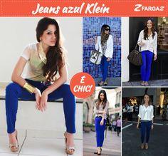Jeans azul klein é chic!