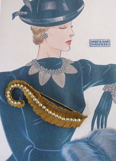 Designer Miriam Haskell vintage 1940's-50's oval plaque signed Russian gold leaf with pearls brooch by Carolannstudios on Etsy https://www.etsy.com/listing/546008286/designer-miriam-haskell-vintage-1940s