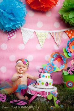 cute girl smash cake setup