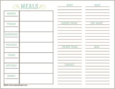 weekly menu template for daycare - Google Search | For the Home ...