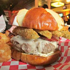 Custom cheeseburger with fried pickles at Basement Burger Bar in Farmington (and Canton), Michigan... Heaven