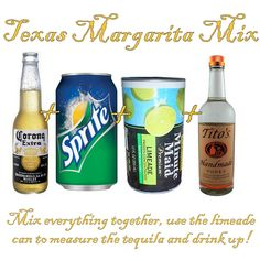 easy margarita mix-found a similar recipe that I couldn't Pin...  Frozen Lemonade 1/2 can of tequila 2 cans sprite  Blend and enjoy.