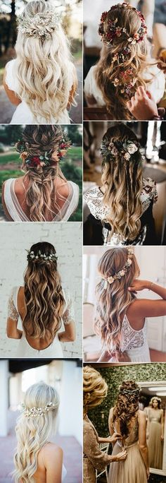 20 Gorgeous Wedding Hairstyles with Flowers for Fall brautkrone , 20 Gorgeous Wedding Hairstyles with Flowers for Fall half up half down wedding hairstyles with flowers Boho Hochzeit, moderne Hochzeit im bohemian Sti. Retro Wedding Hair, Wedding Hair Down, Wedding Hair Flowers, Wedding Hair And Makeup, Flowers In Hair, Hair Makeup, Fall Flowers, Wedding Hijab, Hair Styles Flowers