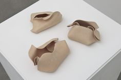 Hannah Wilke Untitled (flesh), 1977-79 3 flesh-tone matt glaze ceramic sculptures 1: 5.7 x 9.5 x 15.2 cms / 2.25 x 3.75 x 6 ins 2: 7.6 x 7.6 x 15.2 cms / 3 x 3 x 6 ins 3: 6.4 x 10.2 x 15.9 cms / 2.5 x 4 x 6.25 ins  Hannah Wilke Collection & Archive, Los Angeles. © Marsie, Emanuelle, Damon, and Andrew Scharlatt/VAGA, New York/DACS, London.