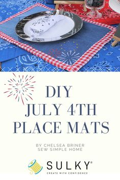 Create DIY 4th of July place mats using recycled denim and a FREE machine embroidery design - by Sew Simple Home. #fourthofjuly #independenceday #placemats #diyfourthofjuly #upcycled #denimplacemats #denim