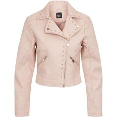 New Look Teens Shell Pink Studded Leather Look Biker Jacket ($44) ❤ liked on Polyvore featuring outerwear, jackets, shell pink, pastel biker jacket, rider jacket, pink studded leather jacket, pastel jacket and pastel moto jacket