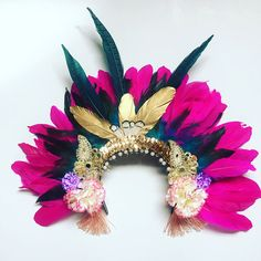 Pink Gold Feather Carnival Festival Head Dress Statement Head