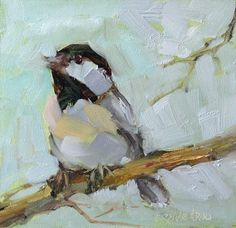 """Daily Paintworks - """"April 2015 Chickadee"""" - Original Fine Art for Sale - © Brande Arno Paintings I Love, Small Paintings, Bird Wall Art, Bee Art, Fine Art Auctions, Famous Art, Watercolor Bird, Acrylic Art, Arno"""