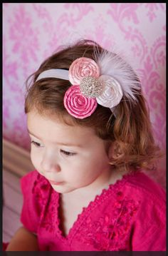 Valentines Day Flower Headband Pink and White by SimplyKateGrace, $10.99