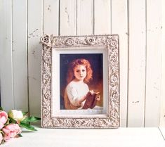 Blush Pink Ornate Picture Frame, Pink and Gold 8 x 10 Frame, Floral Picture Frame French Cottage Decor, Shabby Chic Cottage, Pink And Gold, Blush Pink, Ornate Picture Frames, 10 Frame, Hand Painted, Inspired, Antiques