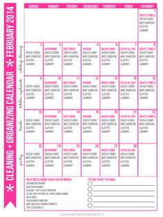 Tackle a couple cleaning tasks every day & regain control over the chaos. FREE February 2014 Cleaning + Organizing Calendar via Clean Mama. Pop it on your fridge and get started!