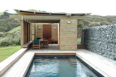 Kaipara Pavilion by Herbst Architects.  Wind protected pool