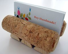 recycled wine and champagne corks make a great Cork Business Card Holder