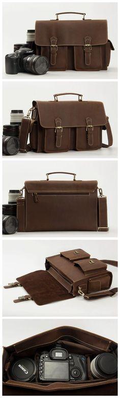 Genuine Leather DSLR Camera Bag, Professional Camera Bag Leather Mesenger Bag