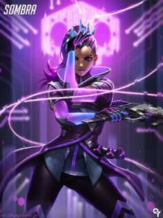 "youngjusticer:  ""One of the most notorious hackers, Sombra manipulates those in power.  Sombra, by Liang Xing.  """