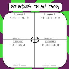 Multi-Step Equations Relay Race Activity by All Things Algebra Algebra Equations, Solving Equations, Maths Algebra, Math 8, Math Teacher, Math Classroom, Teaching Math, Teaching Ideas, Classroom Ideas