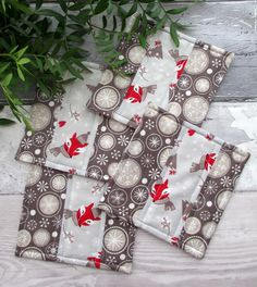 Christmas Quilted Coasters , Patchwork Coasters, Fox Coasters