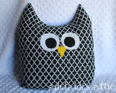 Black and White Owl Pillow Plush Pal  Lovey by DirectorJewels, $24.95 #AdelaidesAtticGrandOpening