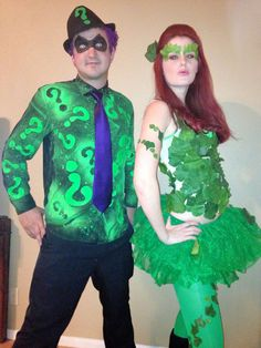 Completely homemade Poison Ivy Costume and The Riddler!