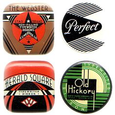 The wonderful deco designs make full advantage of the small 'canvas' of the typewriter ribbon tins. Often the sides of the tins are also covered in a wrap-around graphic.