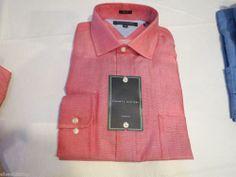 Tommy Hilfiger dress shirt long sleeve 088887 red 15 1/2 34-35 slim fit Mens #TommyHilfiger #ButtonFront